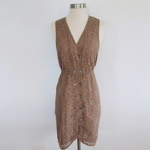 H&M | Double Breasted Lace Midi Dress - Sz 8